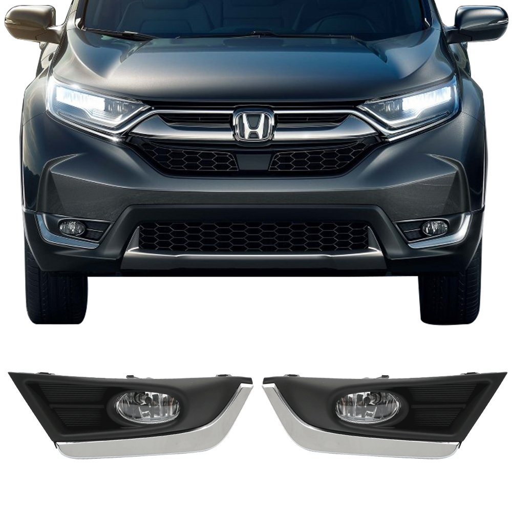 Lights Fits 2017-2018 Honda CRV   OE Style ABS LED Fog Light Lamp Kit Switch & Wiring with Chrome Trim Pairs by IKON MOTORSPORTS