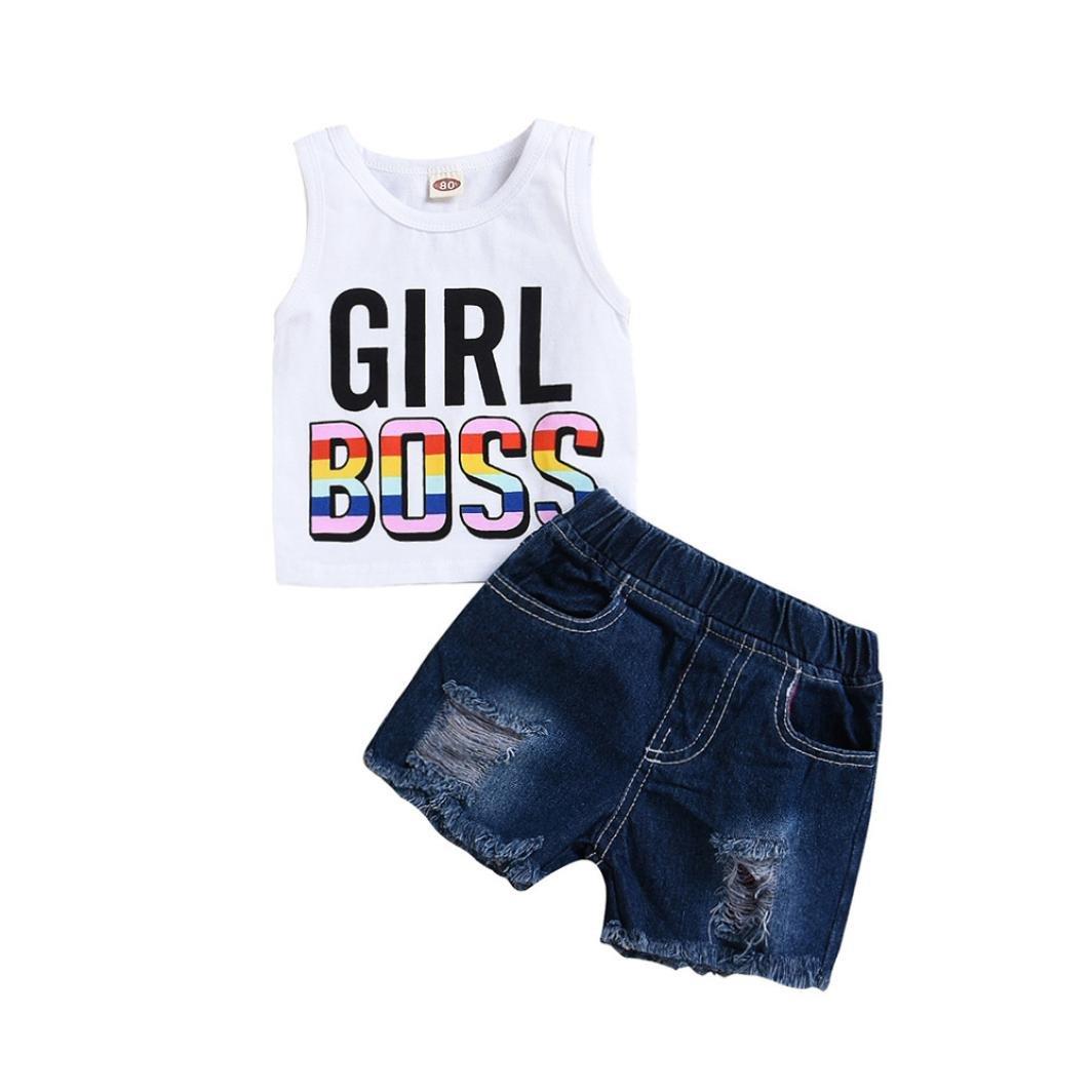 Xshuai 2Pcs Fashion Toddler Infant Kids Baby Girls Letter Print Tops Vest Denim Shorts Outfits Set