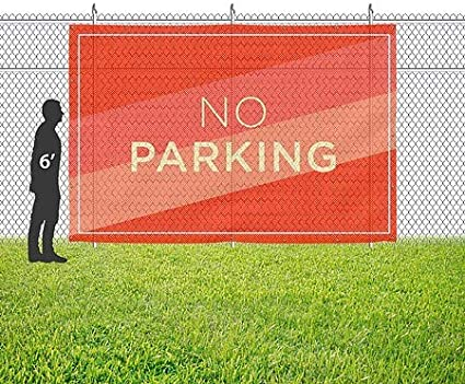 CGSignLab Modern Diagonal Wind-Resistant Outdoor Mesh Vinyl Banner No Parking 12x8
