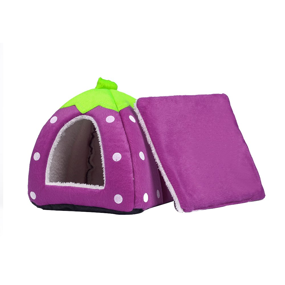 Spring Fever Strawberry Guinea Pigs Fleece House Rabbit Cat Pet Small Animal Bed Purple XL (18.918.90.8 inch) by Spring Fever (Image #2)