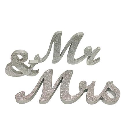 Amazon.com: Mr and Mrs Sign - Tinksky Wedding Decoration Wedding ...