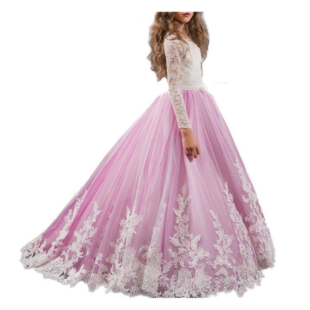 WeeH Girl Dress Wedding Bridesmaid Tutu Dresses Long Ruffles Lace for Party Purple 2-3 Year