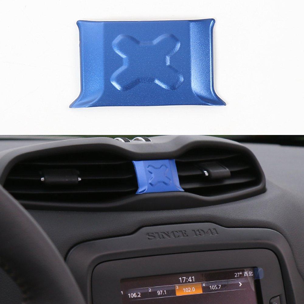 アルミニウム合金車中央ダッシュボード空気ベントカバートリムフレーム装飾for Jeep Renegade 2015 2016 ブルー BORUIEN B076HNQNYD ブルー ブルー