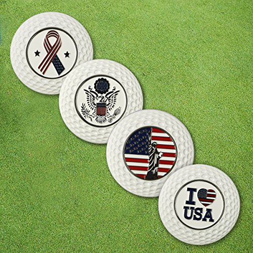 PINMEI Metal Magnetic Golf Poker Chip with Removable Golf Ball Markers Golf Gift for Men Kids Set of 4 (5 USA Poker ()