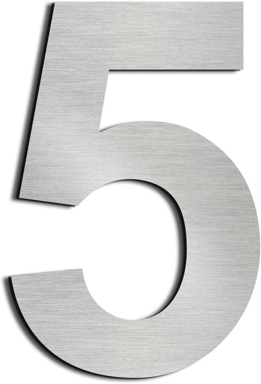 Nanly - Números de casa, de acero inoxidable 304 macizo, aspecto flotante, altura 7,5 cm, Número 5