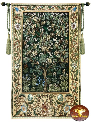(Beautiful Large Tree of Life (G) William Morris Fine Tapestry Jacquard Woven Wall Hanging Art Decor)
