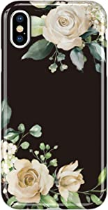 VIVIBIN iPhone X Case,iPhone Xs Case,Cute Flower Garden for Women Girls Clear Bumper Soft Silicone Rubber TPU Best Protective Cover Slim Fit Phone Case for iPhone X/iPhone Xs