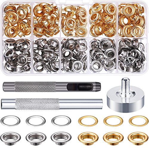 Review Bememo 1/4 inch Grommet Kit 100 Sets Grommets Eyelets with 3 Pieces Install Tool Kit, 2 Color...