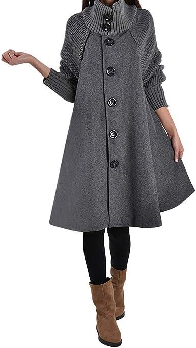 Manteau gris chiné en laine oversize femmes hiver Trench & Coat