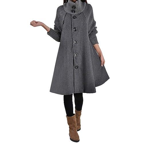 Mantel Kolylong Damen Elegant Einfarbig Wollmantel Lang Herbst Winter Warm Revers Wolljacke Slim Windjacke mit knöpfen Parka Outwear Trenchcoat