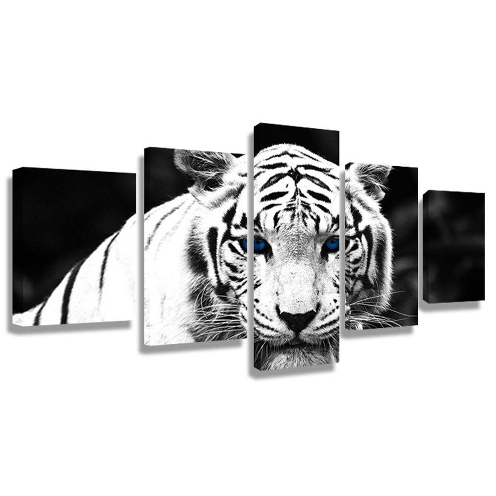 CrmaOArt アートパネル 「青い目の白い虎」 壁掛け 風景写真の壁の写真を絵画 ポスター キャンバス絵画 5パネルセット(木枠付きの完成品)60インチx32インチ B075VRMMBN木枠付きの完成品 60インチx32インチ