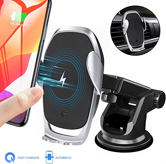 Moskee Wireless Car Charger Mount,Automatic Clamping,Qi 10W 7.5W Fast Charging,Air Vent Phone Holder Compatible with iPhone 11 11 Pro Max Xs MAX XS XR