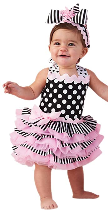 9047980f3e16 Image Unavailable. Image not available for. Color: Tres Jolie Ribbon Ruffle  Sundress, 9-12 Months, Black/White