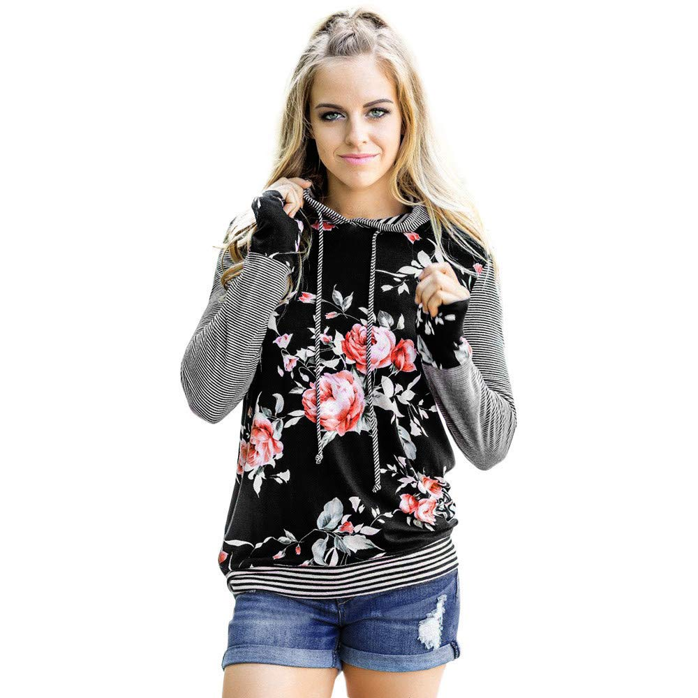 Libermall Women's Casual Hoodie T-Shirt Floral Print Striped Patchwork Long Sleeve Loose Tunic Blouse Tops Black