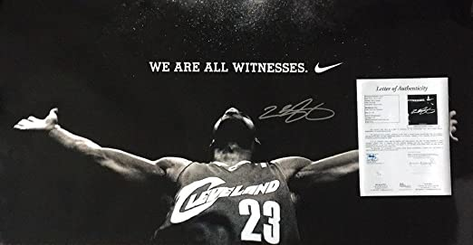 best service 580f5 1cddc ... coupon code for lebron james signed autograph witness official nike  poster jsa certified certified hug at ...