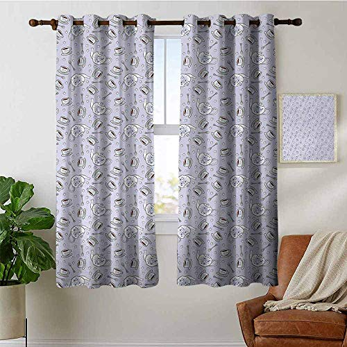 petpany Blackout Lined Curtains Tea Party,Cups and Pot of Grand English Tradition Sugar Cubes and Little Spoons,Lilac Silver Navy Blue,Thermal Insulated,Grommet Curtain Panel 1 Pair 52