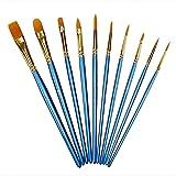 10 Pieces Paint Brush Nylon Hair Artist Detail Paint Brushes Set