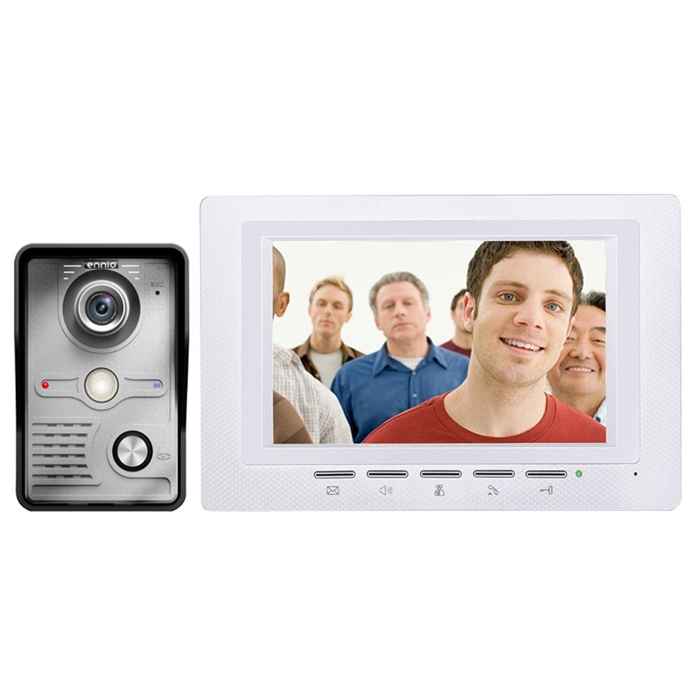 Alloet 7'' Wired Door Phone Doorbell Intercom Kit 1-Camera 1-Monitor Night Vision
