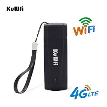 KuWFi 4G WiFi Modem LTE USB Router Unlocked Pocket Mobile Network Hotspot  3G 4G with SIM Card Slot Support LTE FDD B1/B3/B5 Work with