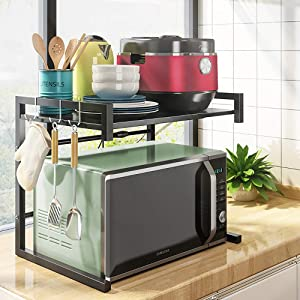 Microwave Oven Rack, Expandable Carbon Steel Microwave 2-tier Storage Shelf, Kitchen Counter Toaster Oven Organizer Width Adjustable Stand with 3 Hooks, 110 lbs Load-bearing (Black-U)