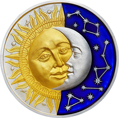 2017 NU Celestial Bodies Artmint SUN AND MOON Celestial Bodies 2 Oz Silver Coin 5$ Niue 2017 Antique Finish