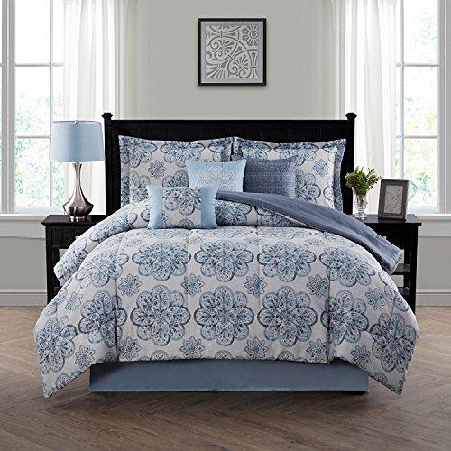 Style Domain OZR02TE47BLU 7-Piece Comforter Set, Blue, King 101