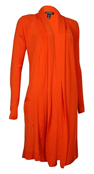 Lauren Ralph Lauren Women's Ribbed Shawl Collar Cardigan (S, Orange)