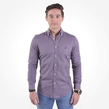 2da2ab613d Camisa Social Masculina Slim Xadrez Purpura 100222  Amazon.com.br ...