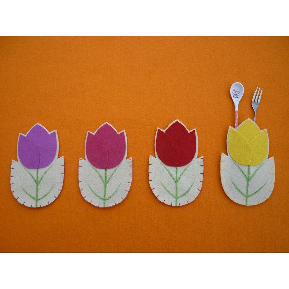 LUOEM Portaposate a Forma di Fiore per Bambini Pasqua Capodanno Decorazione Tavolo 4 Pezzi