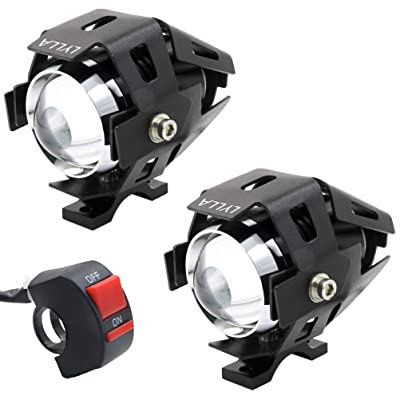 LYLLA One Mode High Beam CREE U5 LED Motorcycle Headlight, DRL Fog Driving Running Light Spotlight for ATV Truck w/ON/OFF Toggle Switch (Pack of 2): Automotive [5Bkhe2005790]