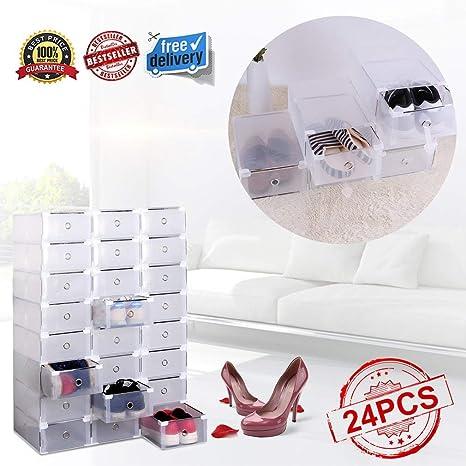 Ahorra Espacio Hogar GTON 24 Unids Cajas para Zapatos Transparente Pl/ástico Casa 31 x 20 x 11 cm Impermeable Ahorro o zapateros para Hombres y Mujeres