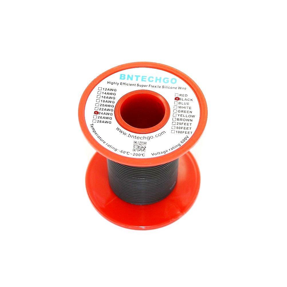 bntechgo® 28 Gauge Silikon Draht 50 Füße schwarz weiches und ...
