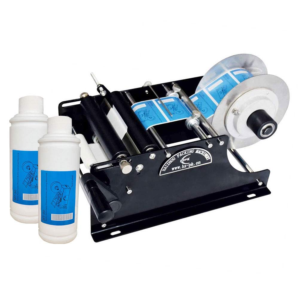 PROMOTOR Round Bottle Labeler, Hand Semi Automatic Labeling machine for Glass and Metal Bottle Labe Applicator