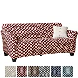 Home Fashion Designs Printed Stretch Sofa Furniture Cover Slipcover Brenna Collection, Burgundy
