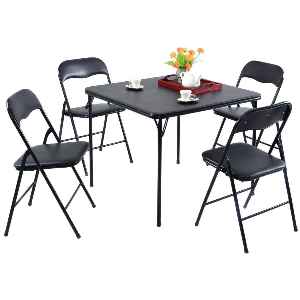 Fashion 5PC Black Folding Table Chair Set Guest Games Dining Room Kitchen Multi-Purpose