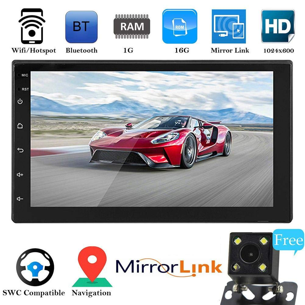 Android 8.1 Bluetooth Media Player 7in Touch Screen Button 2 DIN HD Player 16G Memory Universal GPS Navigation All in One Device for Cars