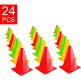 "Super Z Outlet 7.5"" Bright Neon Colored Orange, Yellow, Red, Green Cones Sports Equipment for Fitness Training, Traffic Safety Practice (24 Pack)"