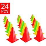 Super Z Outlet 7.5' Bright Neon Colored Orange, Yellow, Red, Green Cones Sports Equipment for Fitness Training, Traffic…