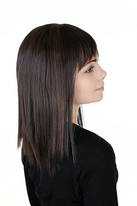 Prettyland C124 - 40cm Peluca sleek-look negra lisa a media melena con mechas marrónes