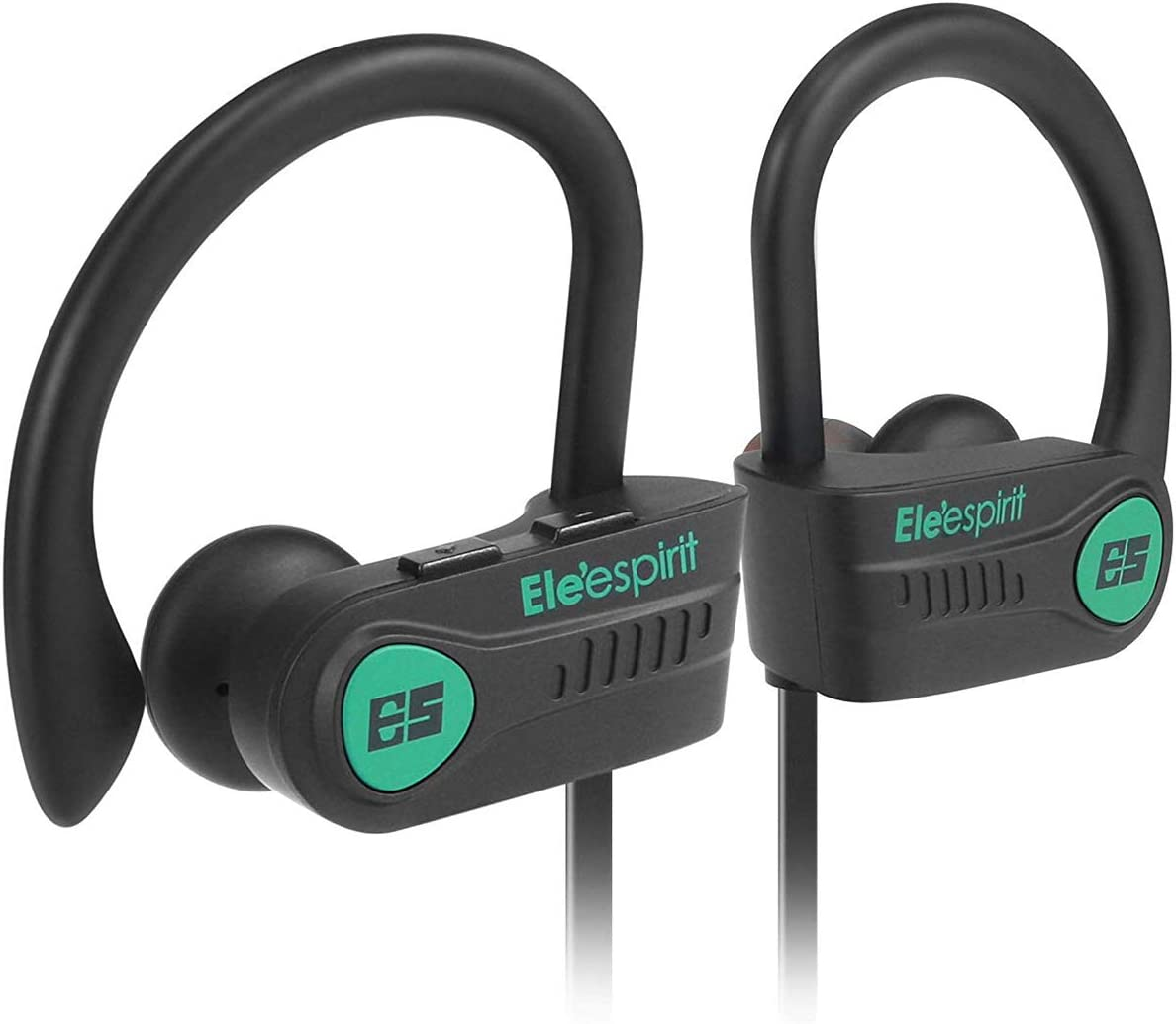ELE ESPIRIT 7.5 Wireless Running headsets – Top 2019 Headphones SENSATIONAL CONNECTIVITY – 300 METRES or 985 FT, Bluetooth 5.0 IPX7 Waterproof, Rugged Workout Earphones, One year at-home warranty.