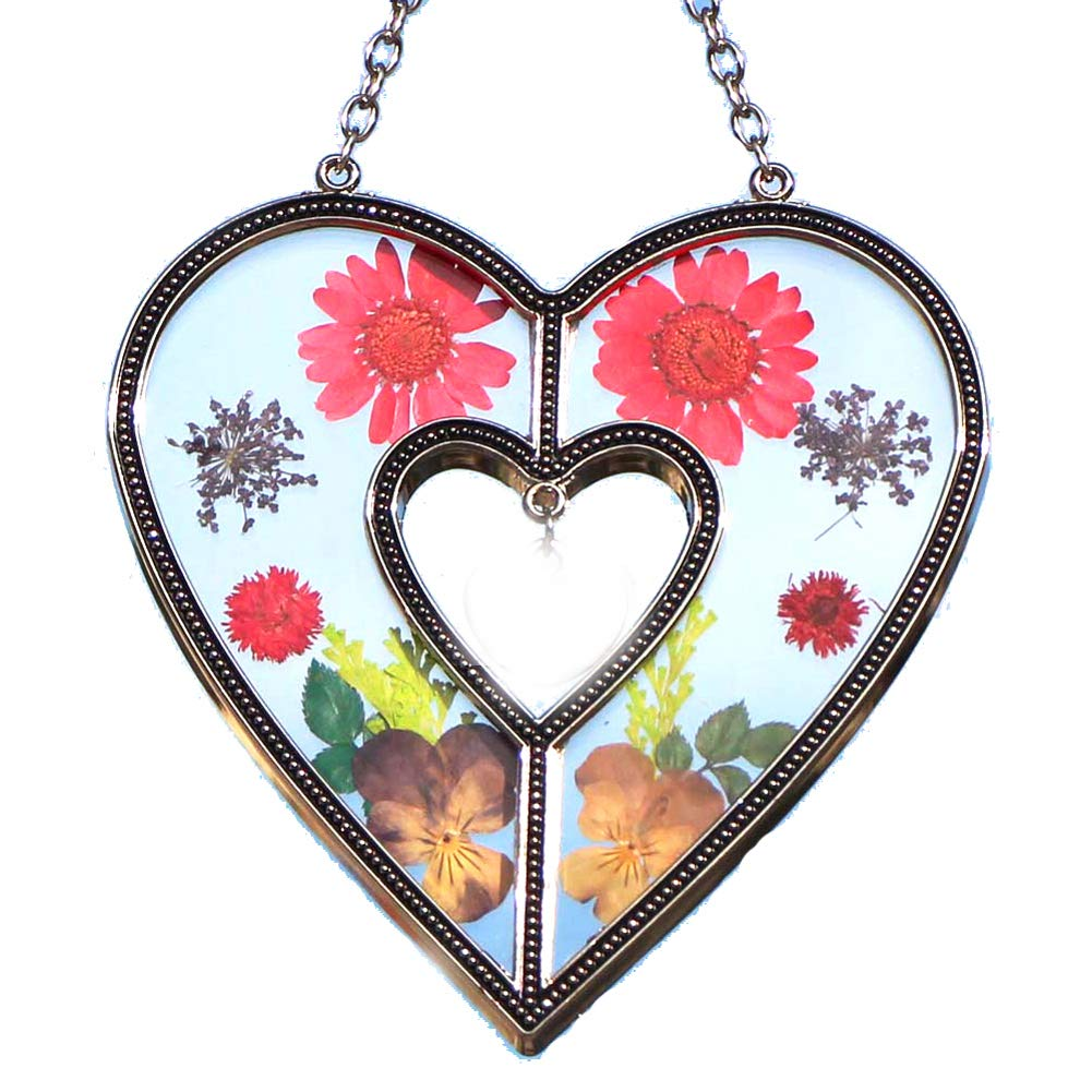 Heart Suncatchers Stained Glass Suncatchers with Real Embedded Pressed Flower Heart Window Ornament Decoration Birthday Gift for Mom Grandma Friend Sister Love Nurse Chain for Hanging Metal and Glass