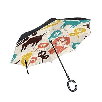 bennigiry gato y perro Reverse plegable doble capa resistente al viento paraguas invertido con manos libres