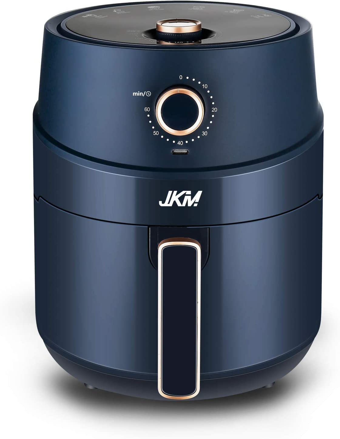 JKM Air Fryer Oven 3.7 Quart, Multifunction Cooking Machine, Recipes, Adjustable Timer&Temp, No Oily Smoke Frying Cooking, Auto Shut Off, 1500W, Navy Blue