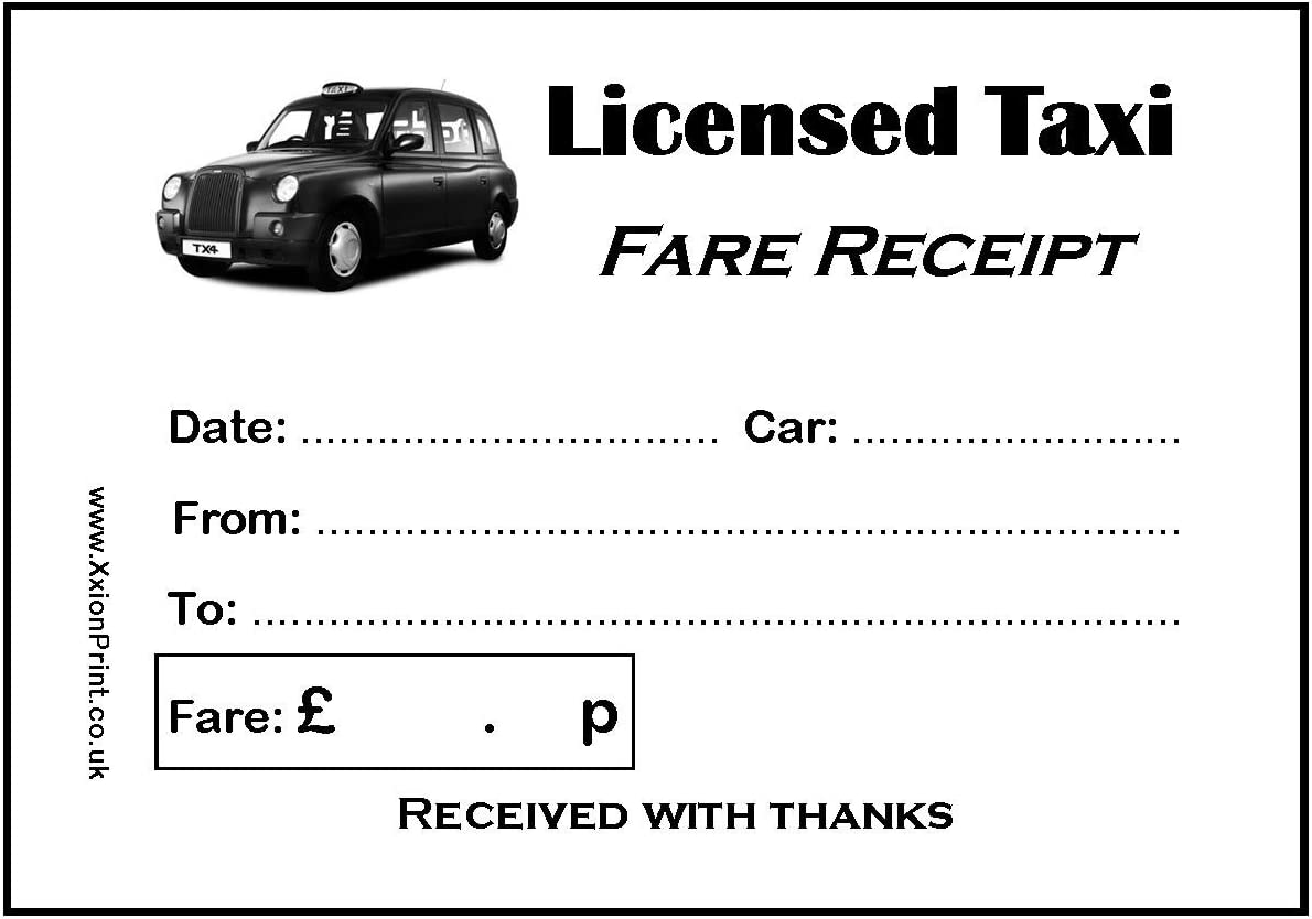 Black Cab Or Licensed Taxi Fare Receipt Pads Pack Of 4 X 100 Sheet Pads 400 Receipts In Stock Free Fast Delivery Amazon Co Uk Office Products