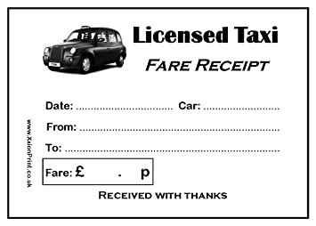 Black Cab or Licensed Taxi Fare Receipt Pads - Pack of 4 x 100 ...