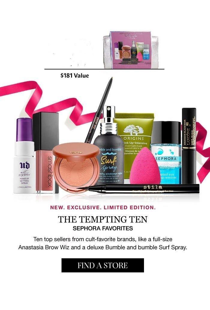 $181 Value! Sephora Favorites The Tempting Ten Beauty Sampler Value Set