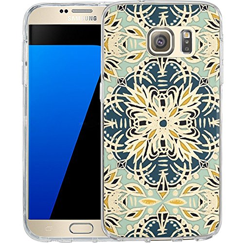 S7 Case Gallery Art Printing Whimsical Flowers Folk Kaleidoscope , LAACO Scratch Resistant TPU Gel Rubber Soft Skin Silicone Protective Case Cover for Samsung Galaxy S7