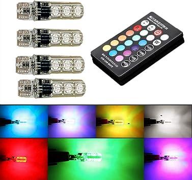 Set T10 5050 6SMD RGB LED Car Wedge Interior Side Light Flash Light Strobe Bulb