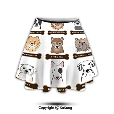 Dalmatian Dog Print Womens 3D Graphic Print Crop Tank Top and Mini Flared Skater Skirts Set for Tee