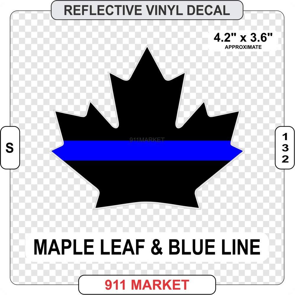 Maple Leaf Blue Line Reflective Decal Canadian Police Sticker - S 132 911 Market